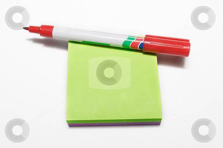 Notepad #2 stock photo, Red fiber tipped pen and sticky pad by Sean Nel