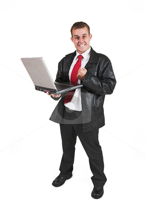 Businessman #50 stock photo, Business man standing with Notebook Computer by Sean Nel