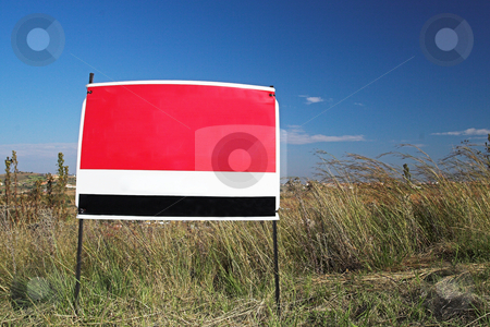 Sign #3 stock photo, Red sign against blue sky by Sean Nel
