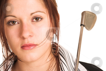 Business Woman #343 stock photo, Business woman with brown hair, dressed in a white shirt with black stripes. Holding a  golf putter.  Copy space by Sean Nel