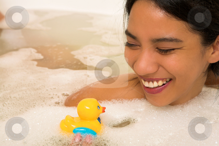 Woman #67 stock photo, Nude woman in a bath.  Copy space. by Sean Nel