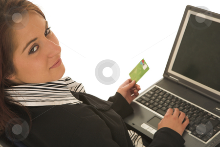 Ecommerce #02 stock photo, Woman on notebook computer with Credit Card by Sean Nel