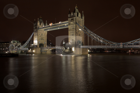 Tower Bridge #3 stock photo, The bascule Tower bridge in London, Night Scene over the Thames by Sean Nel