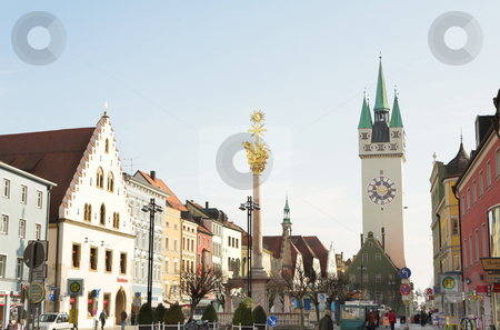 Town square stock photo, Trinity Column and the Stadtturm in Straubing, Bavaria, Germany - Editorial use only by Sean Nel