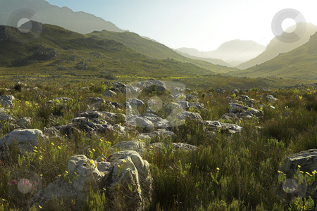 Landscape #03 stock photo, Hills with mist in sunset - Kleinmond, South Africa by Sean Nel
