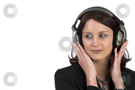 Luzaan Roodt #7 stock photo, Business woman in formal black suit, with headphones on her head - copy space by Sean Nel