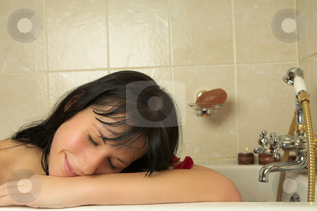 Woman #80 stock photo, Nude woman in a bath. by Sean Nel