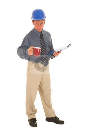 Businessman #103 stock photo, Man standing with coffee and clipboard. by Sean Nel