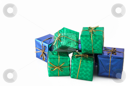 Multiple Gifts #4 stock photo, Green wrapped gifts with golden ribbon - copy space by Sean Nel