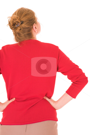 BlondeFace #9 stock photo, Blonde woman with Red Jersey - Hands on hips by Sean Nel
