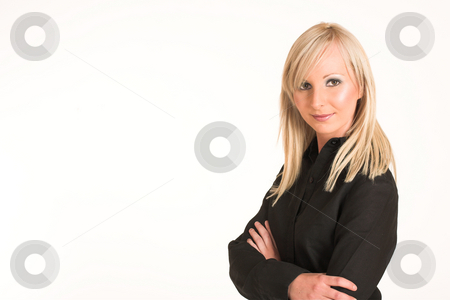Business Woman #292 stock photo, Blond business woman dressed in black trousers and a black shirt. Standing with her arms crossed, smiling.  Copy space. by Sean Nel