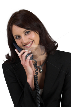 Luzaan Roodt #5 stock photo, Business woman in formal black suit, holding phone, smiling by Sean Nel