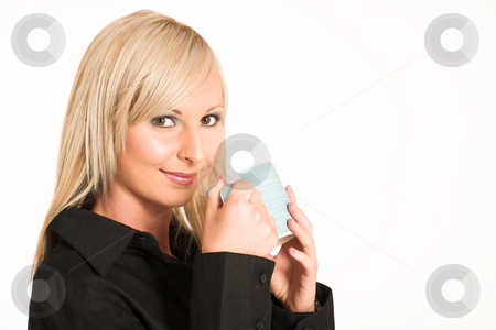Business Woman #302 stock photo, Blond business woman dressed in black trousers and a black shirt.  Holding a mug - copy space by Sean Nel