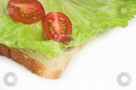 Food #41 stock photo, Tomato and lettuce on a slice of white bread by Sean Nel