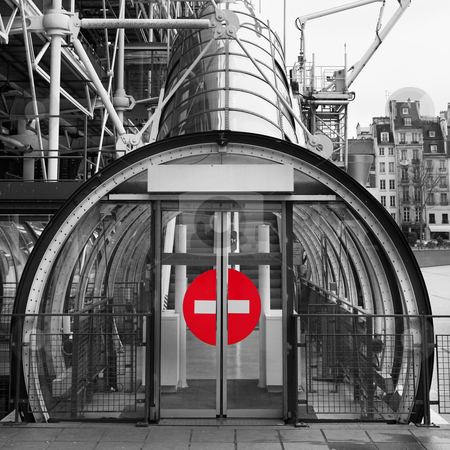 Paris #74 stock photo, The Centre Pompidou Industrial structure (museum) in Paris, France. Black and white.  Only the sign is in colour.  Copy space. by Sean Nel