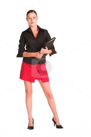 Charmaine Shoultz #1 stock photo, Business woman dressed in a black shirt and red skirt.  Holding a file by Sean Nel