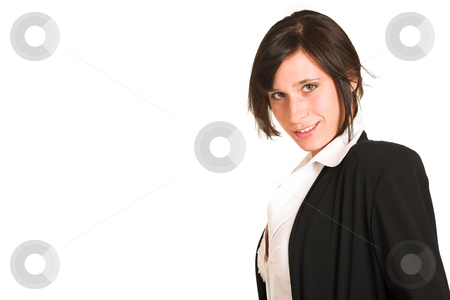 Business Woman #273 stock photo, Business woman dressed in a pencil skirt and jacket.  Copy space by Sean Nel