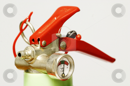 Fire Extinguisher stock photo, Head of a small fire extinguisher by Sean Nel