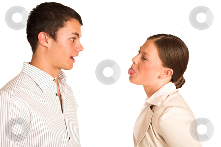 Business People #37 stock photo, Two business partners: one woman and one man. Woman sticking her tongue out. by Sean Nel