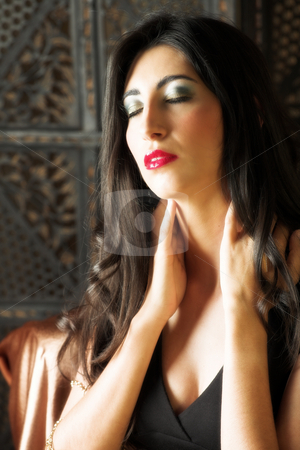 Italian adult woman stock photo, Beautiful young sexy adult Italian woman with long black hair, in formal black dress on a textured wooden background, sitting on a luxurious couch ? Hard light, high key - Defocussed by Sean Nel
