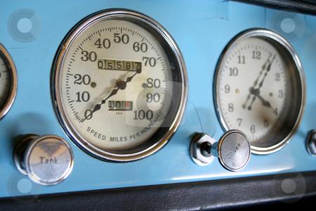 Chryseler Speedo stock photo, Speedometer of old blue Chryseler by Sean Nel