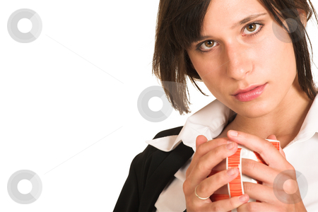 Business Woman #282 stock photo, Business woman dressed in a pencil skirt and jacket.  Holding a cup - copy space by Sean Nel