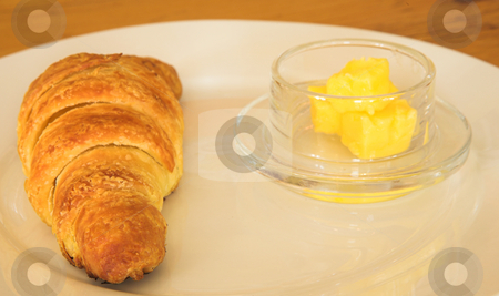 Lunch #23 stock photo, Croissant and butter on a plate by Sean Nel