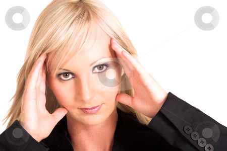 Business Woman #316 stock photo, Blond business woman dressed in  a black shirt. Holding her head - headache.  Copy Space by Sean Nel