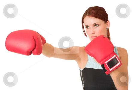 Gym #62 stock photo, Woman wearing boxing gloves.  Looking serious. by Sean Nel