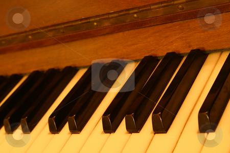 Old piano stock photo, Old piano keys by Sean Nel