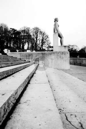 Paris #10 stock photo, Stairs and statue in Paris, France.  Black and white, Copy space. by Sean Nel
