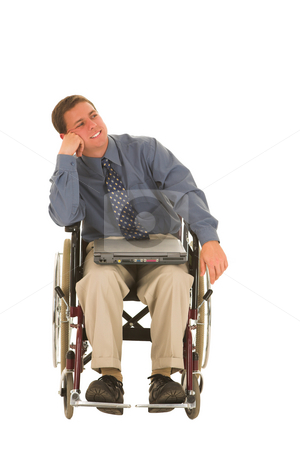 Businessman #138 stock photo, Businessman sitting in a wheelchair with a laptop by Sean Nel