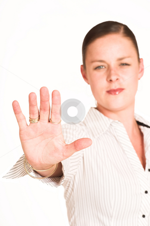 Business Woman #31 stock photo, Business woman dressed in a white pinstripe shirt. Holding hand up by Sean Nel