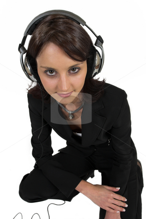 Luzaan Roodt #16 stock photo, Business woman in formal black suit with headphones on head by Sean Nel