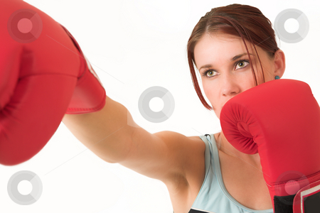 Gym #35 stock photo, A woman in gym clothes, with boxing gloves by Sean Nel