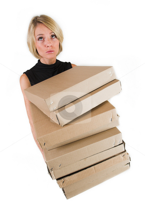 Business Lady #20 stock photo, Blond Business woman carrying boxes by Sean Nel