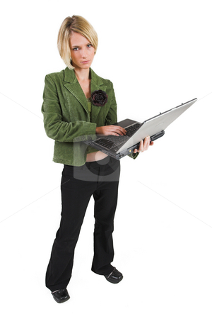 Heidi Booysen #27 stock photo, Business woman green jacket, working on laptop by Sean Nel