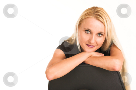 Business Woman #380 stock photo, Blond business woman, dressed in a black clothes. copy space. by Sean Nel