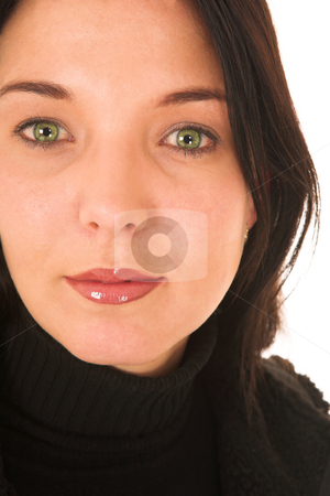 Woman #19 stock photo, Dark haired woman with green eyes by Sean Nel