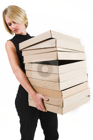 Business Lady #27 stock photo, Blond Business woman carrying boxes by Sean Nel