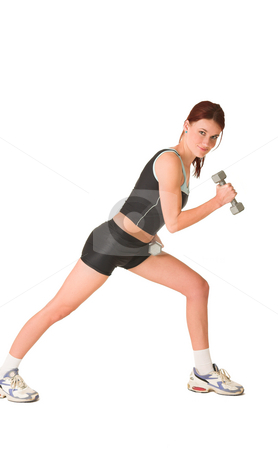 Gym #144 stock photo, Woman standing side ways, working out with weights. by Sean Nel