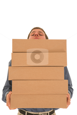 Businessman #79 stock photo, Man carrying boxes. by Sean Nel