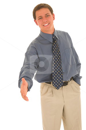 Businessman #89 stock photo, Man greeting wiht a smile. by Sean Nel