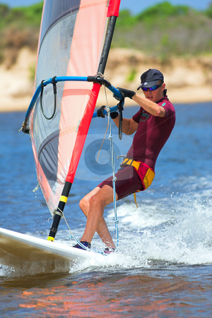 Windsurfer #15 stock photo, Fast moving windsurfer on the water at Keurbooms Lagoon, South Africa  by Sean Nel