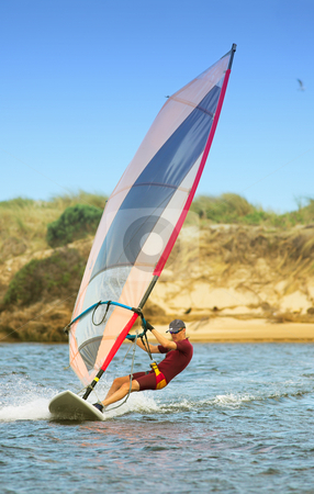 Windsurfer 01 stock photo, Fast moving windsurfer on the water at Keurbooms Lagoon, South Africa  by Sean Nel
