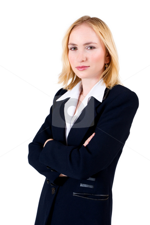 Lena Talberg #3 stock photo, Business woman in formal black suit, arms folded by Sean Nel