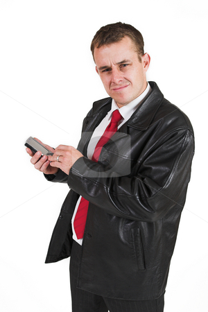 Businessman #32 stock photo, Business man with black leather jacket and PDA by Sean Nel