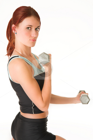 Gym # 15 stock photo, A woman in gym clothes, training with weights by Sean Nel