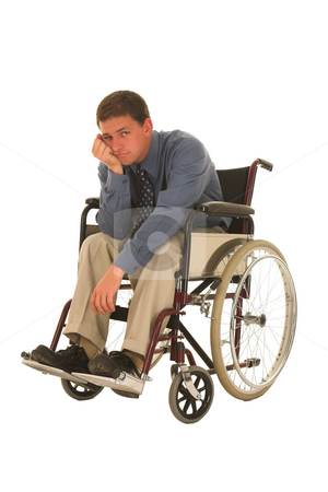 Businessman #128 stock photo, Man sitting in wheelchair. by Sean Nel