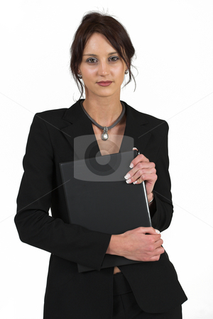 Business Lady #56 stock photo, Business woman with black file by Sean Nel